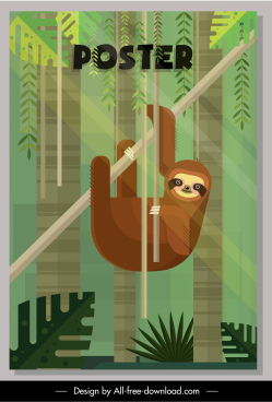 jungle poster sloth animal sketch flat colorful decor
