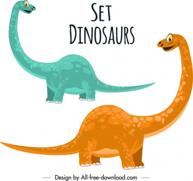 jurassic background apatosaurus dinosaur icons cute cartoon design