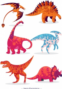 jurassic background colored dinosaurs animals icons classical design