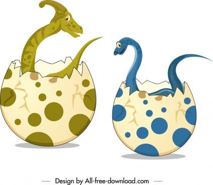 jurassic background dinosaurs eggs icons cartoon design