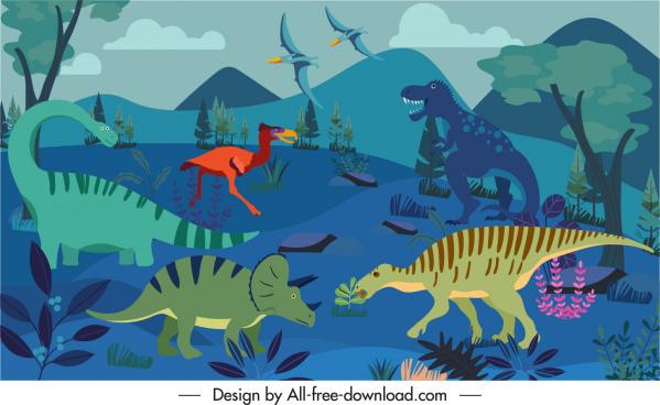 jurassic background wild dinosaurs species sketch cartoon design