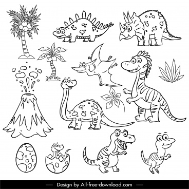 jurassic design elements handdrawn dinosaur tree volcano sketch
