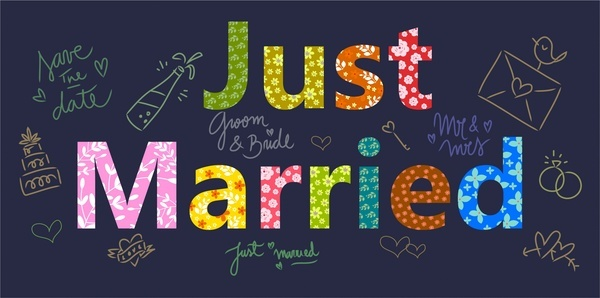 just married template design with hand drawn ornament