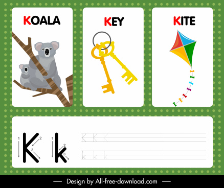 k alphabet learning template koala key kite sketch