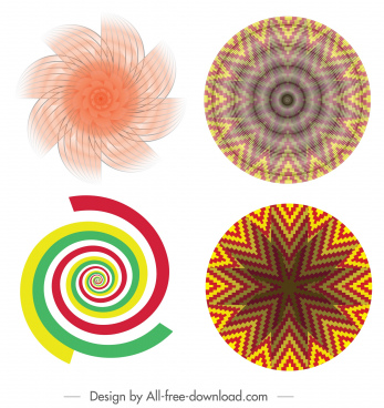 kaleidoscope icons symmetric illusive spiral swirled decor