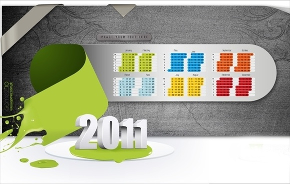 2011 calendar design 3d splash modern style