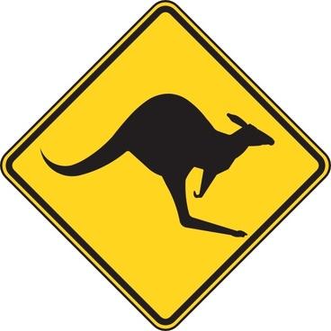 Kangaroo Warning Sign clip art