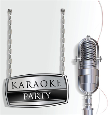 karaoke party with microphone poster vector