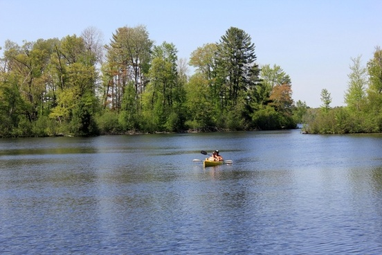 kayakers rowing in at governor thompson state park wisconsin