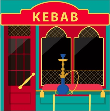 kebab restaurant facade design with muslim architecture