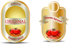 ketchup label stickers creative vector