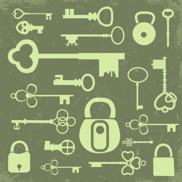 key lock icons collection flat retro design