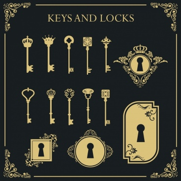 key lock icons sets vintage flat design