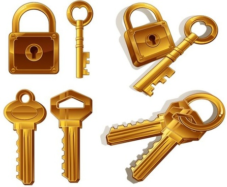 key icons 3d shiny golden decor