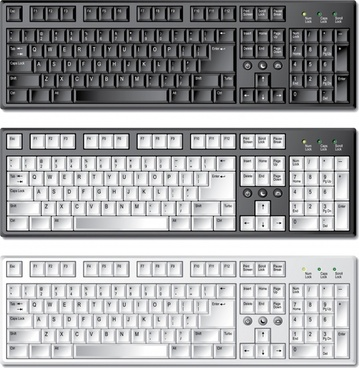 computer keyboard icons shiny realistic contemporary sketch
