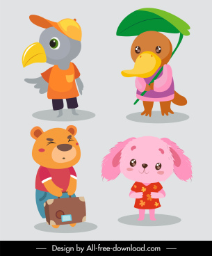 kid animals icons cute stylized cartoon characters sketch