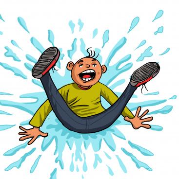 kid boy fell down on the wet floor