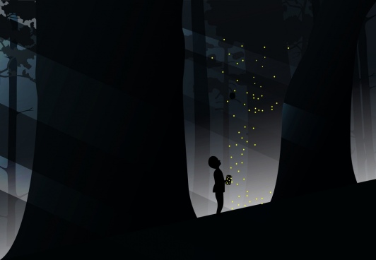 kid catching firefly in forest background silhouette style