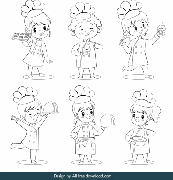 kid cooks icons cute cartoon characters handdrawn sketch