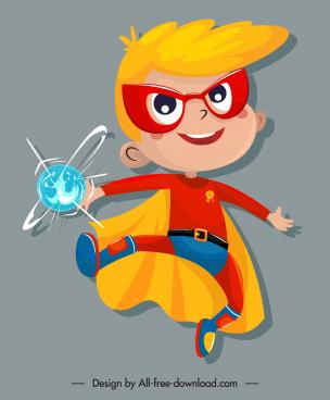 kid hero icon cute cartoon sketch