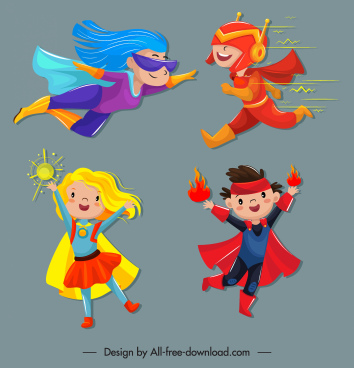 kid hero icons funny design cute cartoon characters
