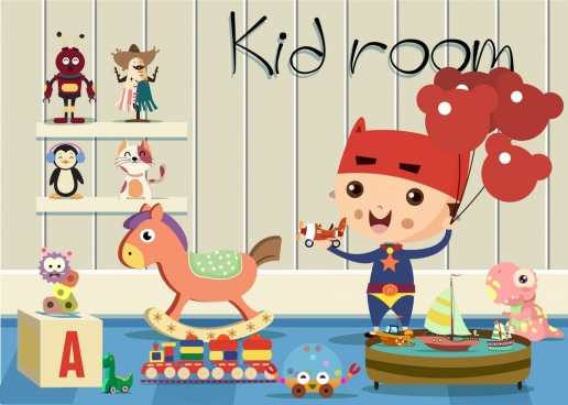 kid room decor 3d colored design various icons