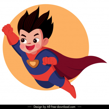 kid superman icon flying sketch cute cartoon character