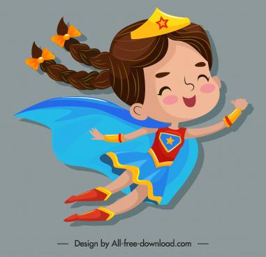 kid superwoman icon flying gesture cute cartoon design