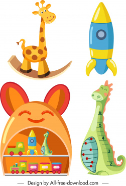 kid toy icons shiny colorful decor