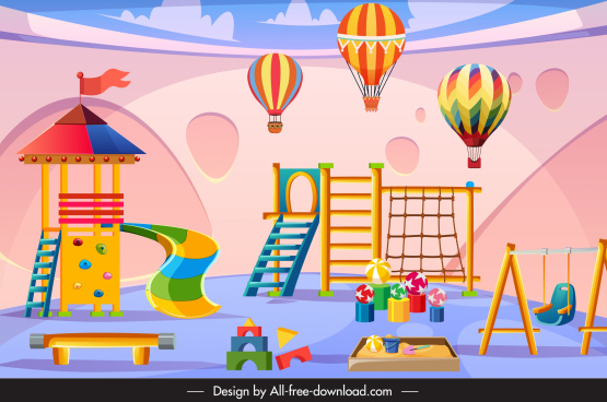 kid yard background colorful recreational elements decor
