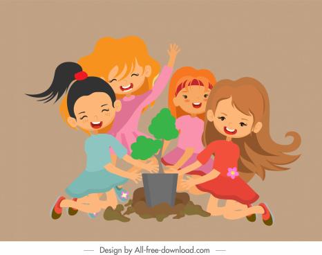 kids activity background joyful girls sketch cartoon design