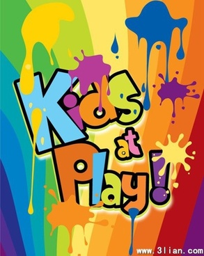 kids ground banner colorful splashing paint texts decor