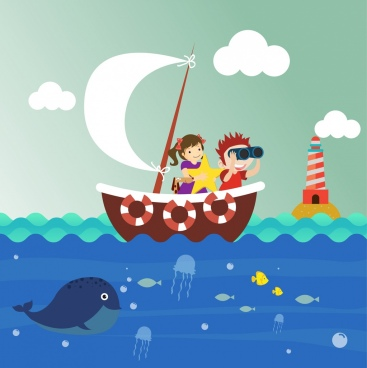 kids background sailing marine species icons cartoon design