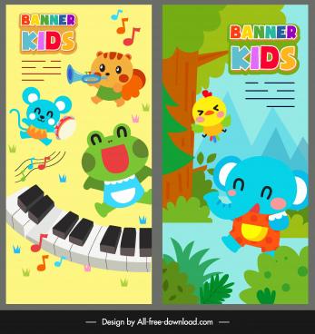 kids banner colorful cute cartoon animals stylization
