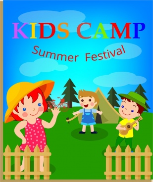 kids camp banner children icons multicolored cartoon design