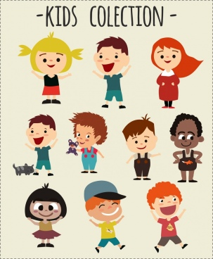 kids icons collection colored cartoon design