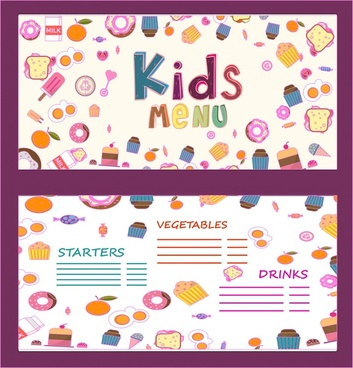 kids menu ornament food icons on white background