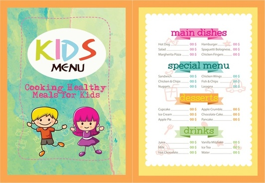 kids menu vector illustration with colorful cute design
