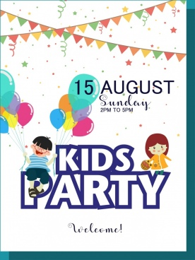 kids party poster colorful ribbon balloon decoration