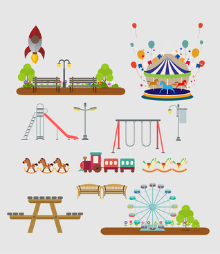 kids playground areas vector illustration