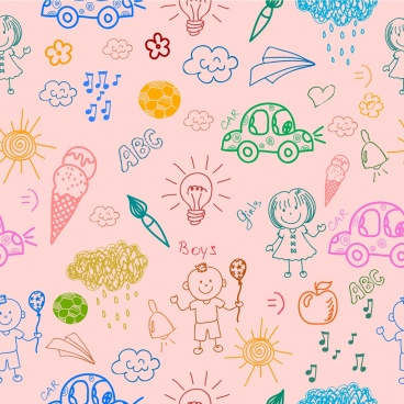 kids symbols background flat colored hand drawn design