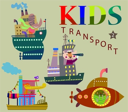 kids transport concept illustration with colorful marine means