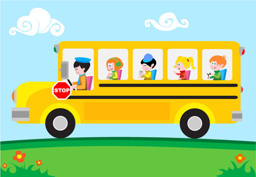 kids with bus design vector
