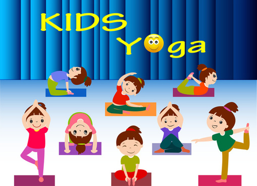 kids yoga vector illustration with various postures