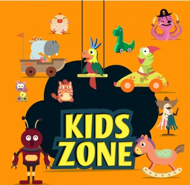 kids zone design elements colorful toys icons