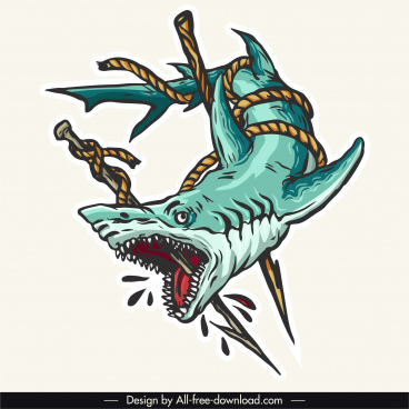 killed shark tattoo template colored bloody scary sketch