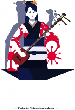 kimono girl icon classical design cartoon character