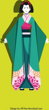 kimono girl icon colored cartoon character
