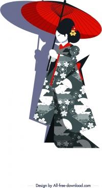 kimono girl icon umbrella decor cartoon character sketch