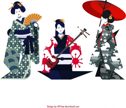 kimono girl icons colored retro design cartoon characters
